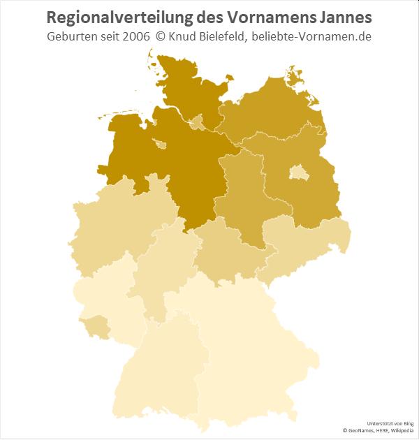 Am häufigsten kommt der Name Jannes in Niedersachsen und Schleswig-Holstein vor.