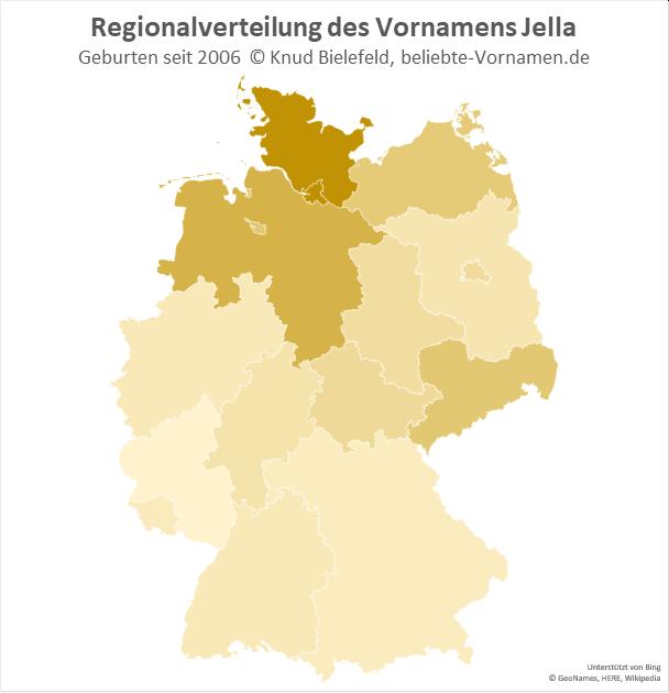 In Hamburg und Schleswig-Holstein kommt der Name Jella besonders häufig vor.