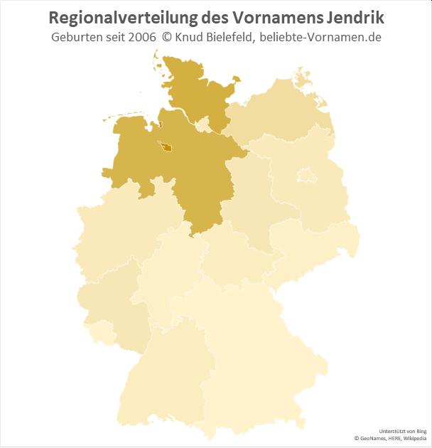 Am beliebtesten ist der Name Jendrik in Bremen.