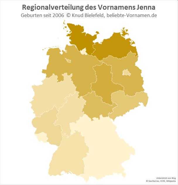 In Schleswig-Holstein und in Mecklenburg-Vorpommern ist der Name Jenna besonders populär.