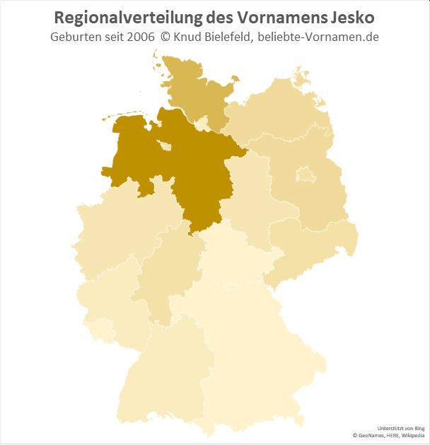 Am beliebtesten ist der Name Jesko in Niedersachsen.