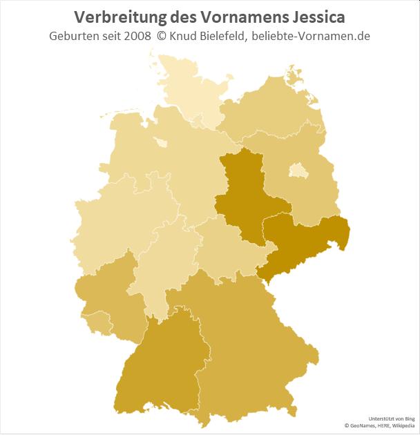 In Sachsen und Sachsen-Anhalt ist der Name Jessica besonders beliebt.