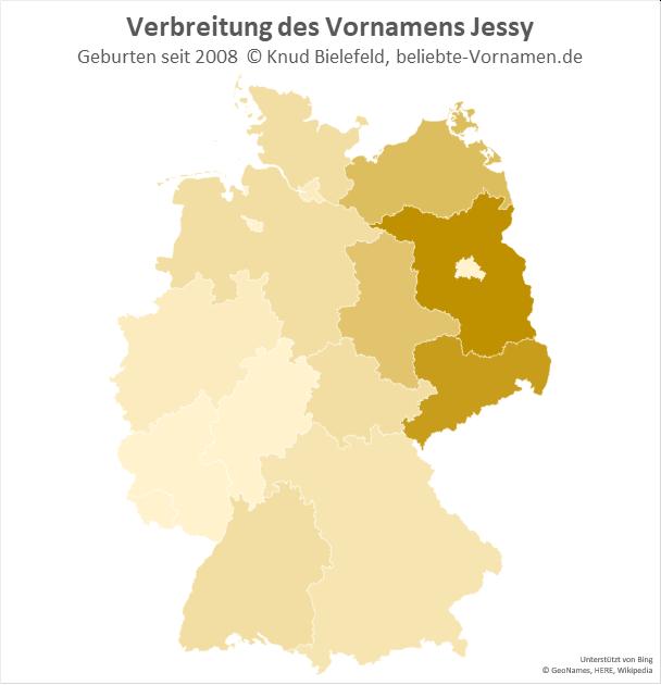 In Brandenburg und Sachsen ist der Name Jessy besonders beliebt.