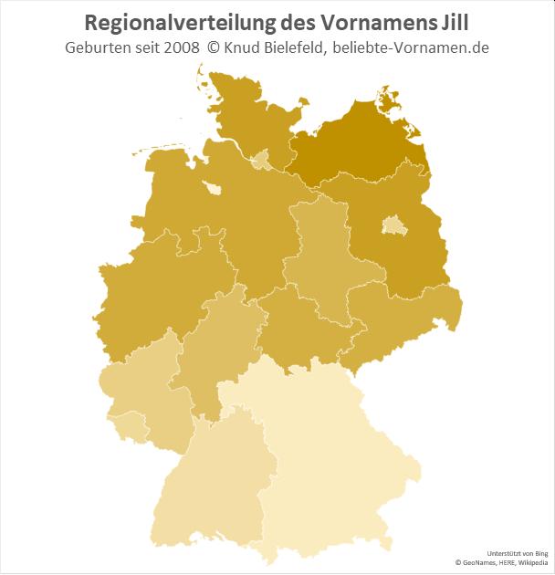 Am beliebtesten ist der Name Jill in Mecklenburg-Vorpommern.
