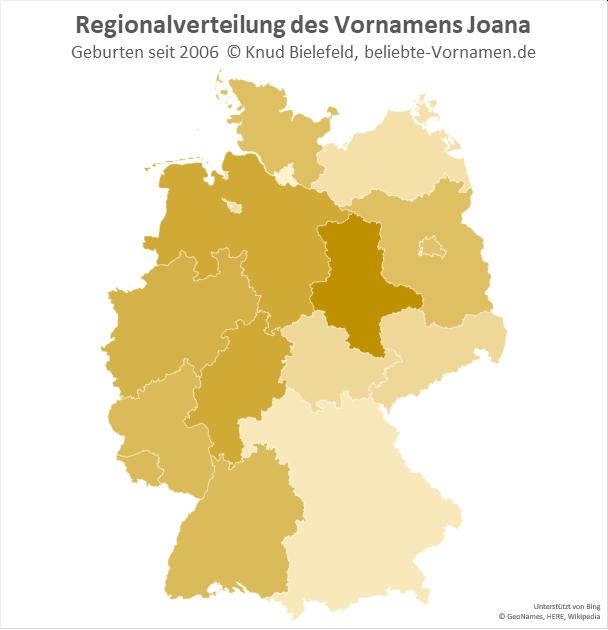 In Sachsen-Anhalt ist der Name Joana besonders beliebt.