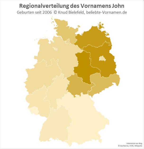 In Sachsen-Anhalt und Brandenburg ist der Name John besonders beliebt.