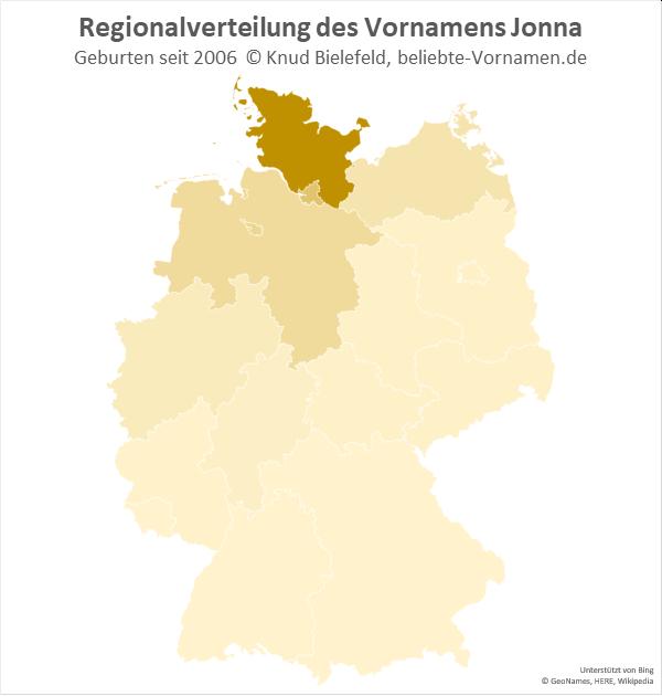Der Name Jonna kommt besonders oft in Schleswig-Holstein vor.