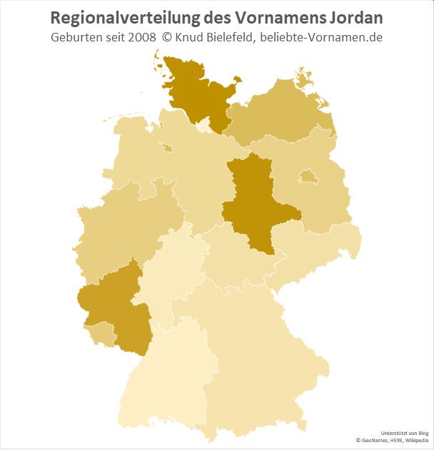 Am beliebtesten ist der Name Jordan in Schleswig-Holstein und Sachsen-Anhalt.