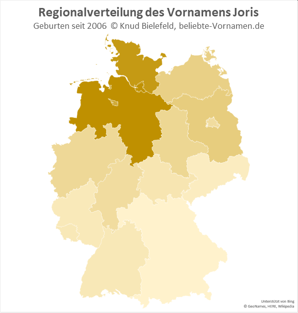 In Niedersachsen und Schleswig-Holstein ist der Name Joris besonders beliebt.