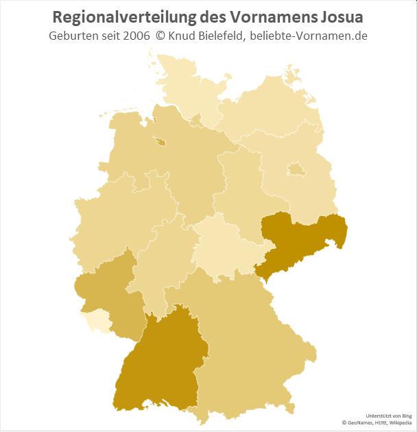 In Sachsen und Baden-Württemberg ist der Name Josua besonders beliebt.