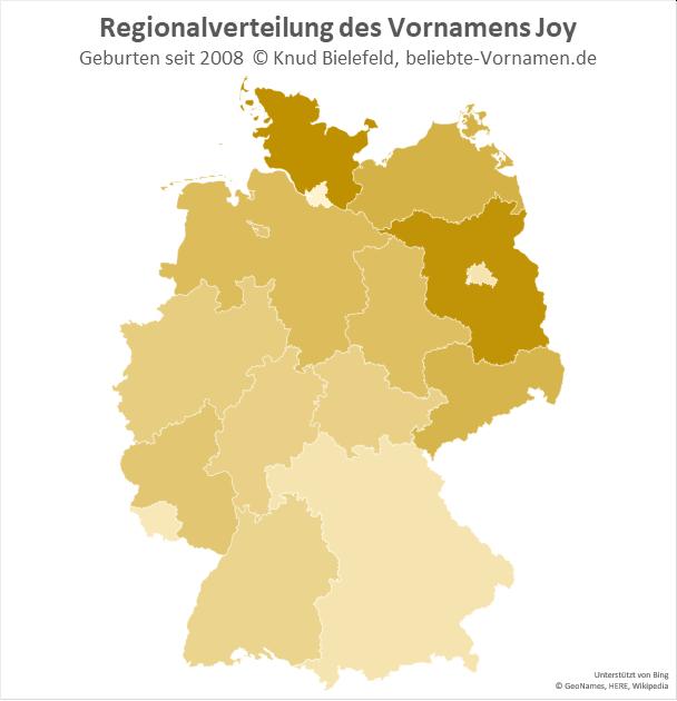 Am beliebtesten ist der Name Joy in Brandenburg und in Schleswig-Holstein.