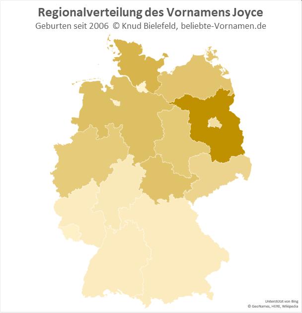 Besonders beliebt ist der Name Joyce in Brandenburg.