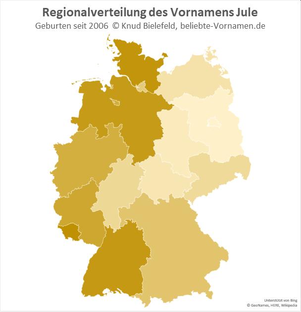 Der Name Jule ist in Westdeutschland am beliebtesten.