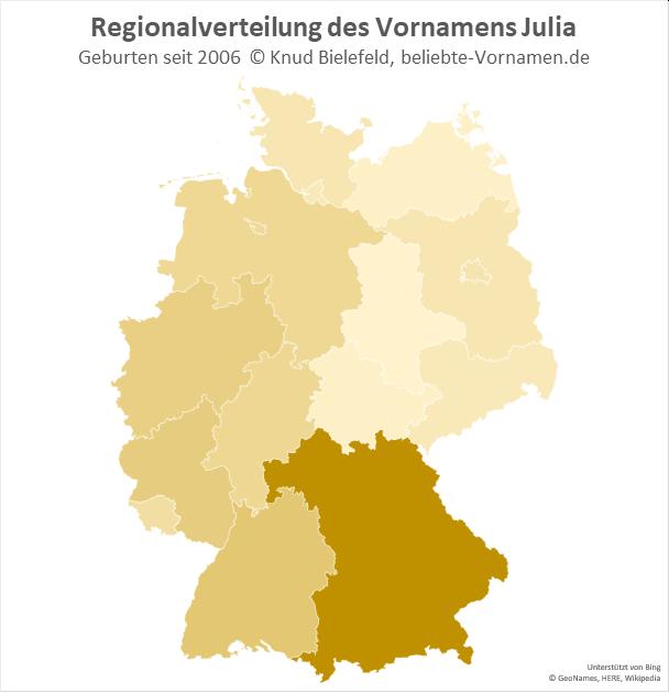 In Bayern ist der Name Julia besonders beliebt.