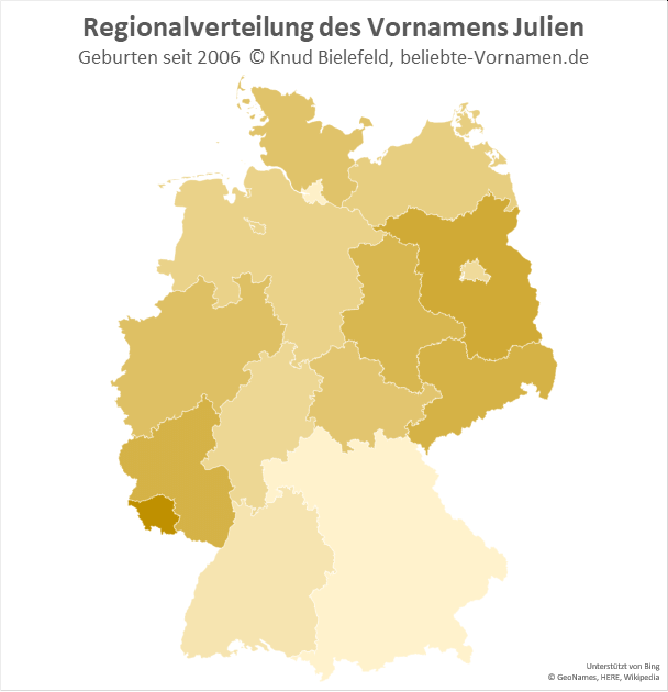 Im Saarland ist der Name Julien besonders beliebt.