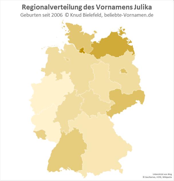 Am beliebtesten ist der Name Julika in Hamburg.