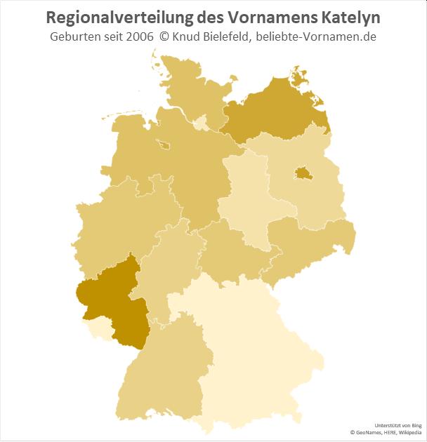 In Rheinland-Pfalz ist der Name Katelyn besonders beliebt.