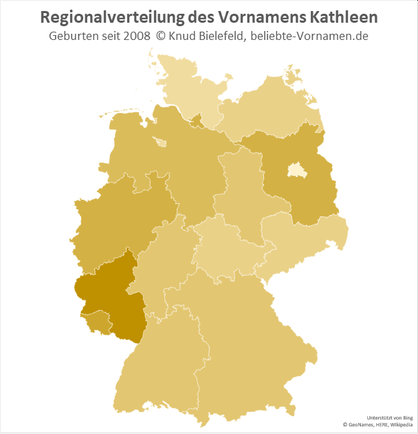 In Rheinland-Pfalz ist der Name Kathleen besonders beliebt.