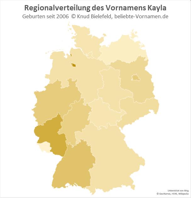 In Bremen und in Rheinland-Pfalz ist der Name Kayla besonders beliebt.
