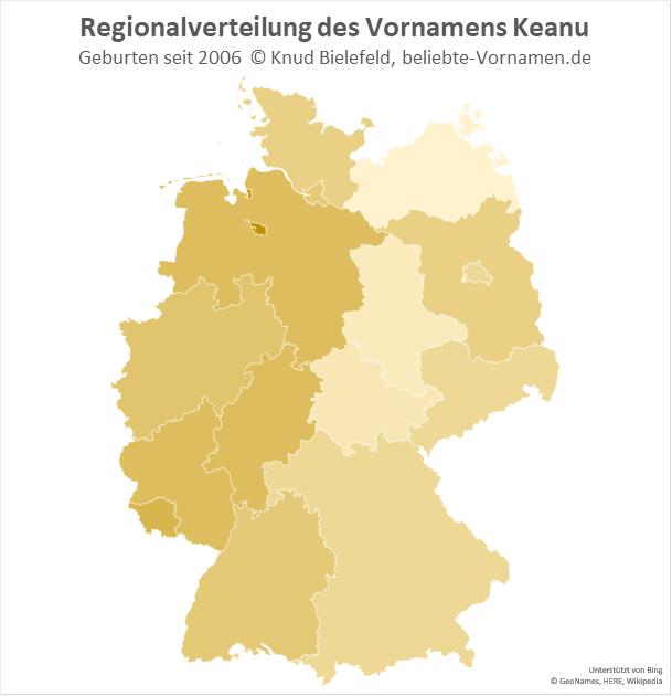 Am beliebtesten ist der Name Keanu in Bremen.
