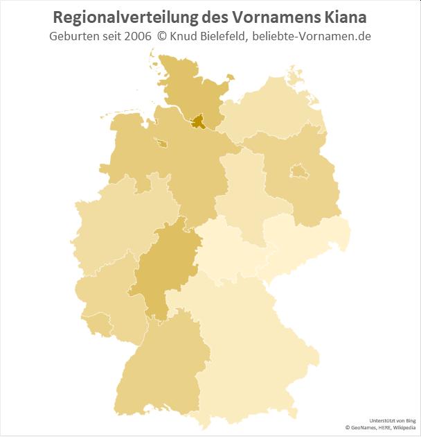 Am beliebtesten ist der Name Kiana in Hamburg.