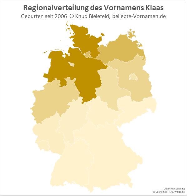 In Schleswig-Holstein und Niedersachsen ist der Name Klaas besonders beliebt.