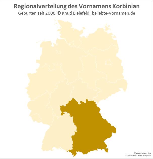 Außerhalb Bayerns ist der Name Korbinian nur sehr selten gebräuchlich.