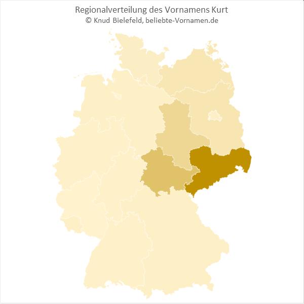 Regionale Verteilung des Vornamens Kurt nach Bundesländern