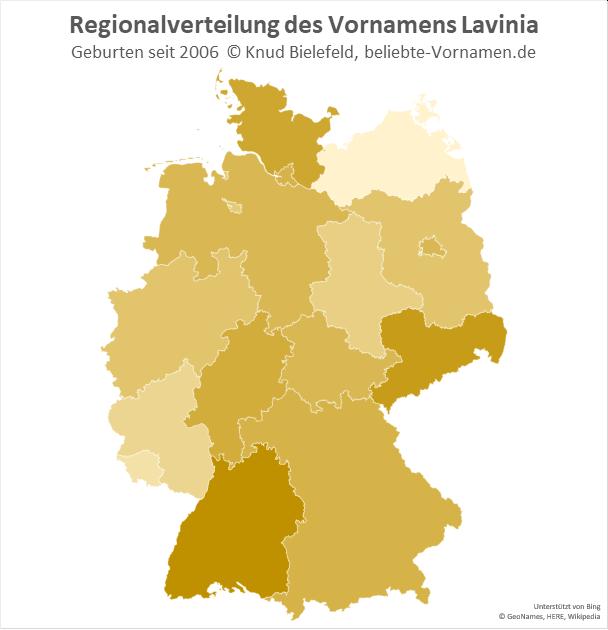 Am beliebtesten ist der Name Lavinia in Baden-Württemberg.