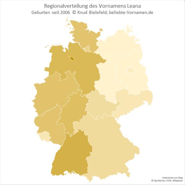 Der Name Leana ist im Westen Deutschlands deutlich beliebter als im Osten.