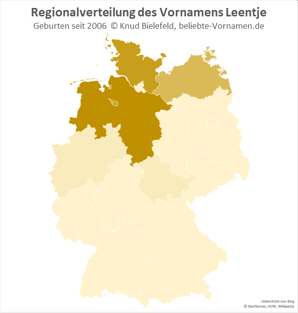 Der Name Leentje ist in den norddeutschen Bundesländern besonders beliebt.