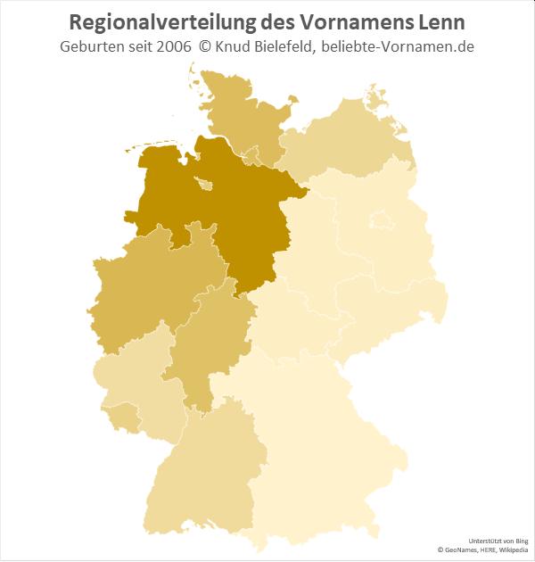 Am beliebtesten ist der Name Lenn in Niedersachsen.