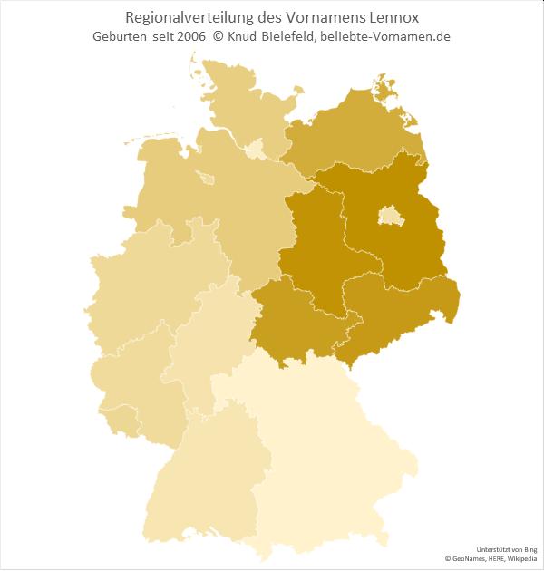 Am beliebtesten ist der Name Lennox in Brandenburg.