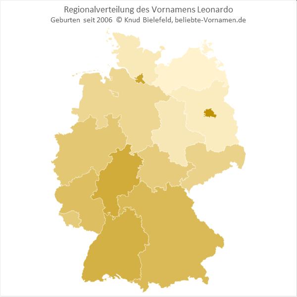 Der Name Leonardo ist in Süddeutschland populärer als in Norddeutschland.