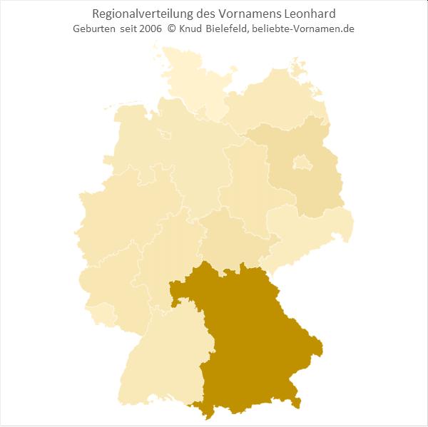 Regionalverteilung des Vornamens Leonhard
