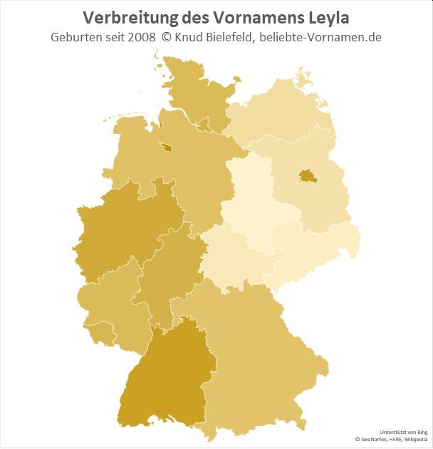 In Berlin, Bremen und Baden-Württemberg ist der Name Leyla besonders beliebt.