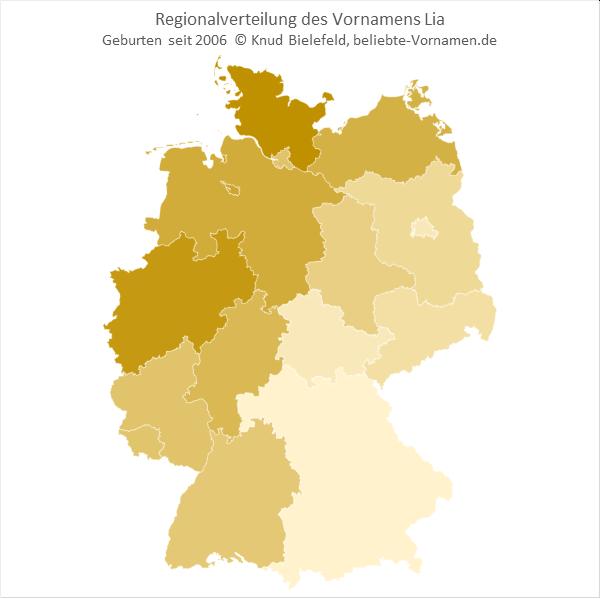 In Schleswig-Holstein und Nordrhein-Wwstfalen ist der Name Lia besonders beliebt.