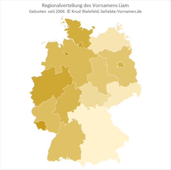 In Nordrhein-Westfalen und im Saarland ist er Name Liam besonders beliebt.