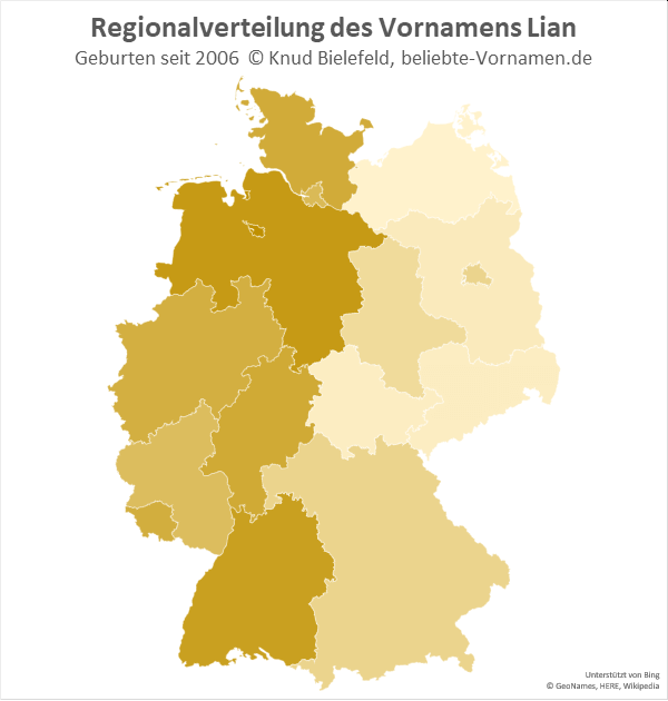 In Niedersachsen und Bremen ist der Name Lian besonders beliebt.