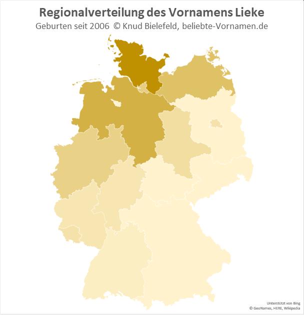 Der Name Lieke kommt vor allem in Norddeutschland vor.