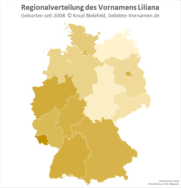Im Saarland ist der Name Liliana besonders beliebt.