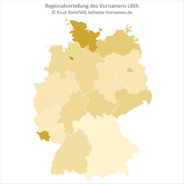 Regionale Verteilung des Vornamens Lilith nach Bundesländern