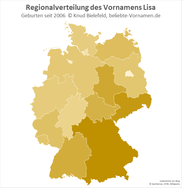 Am beliebtesten ist der Name Lisa in Sachsen und Bayern.