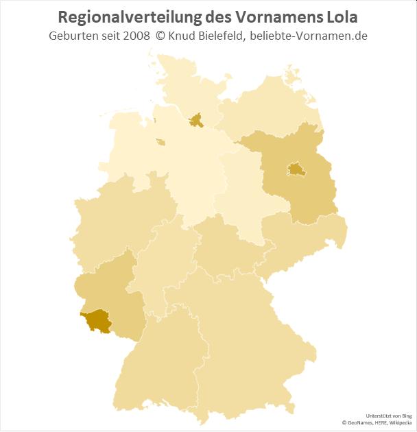 Am beliebtesten ist der Name Lola im Saarland.