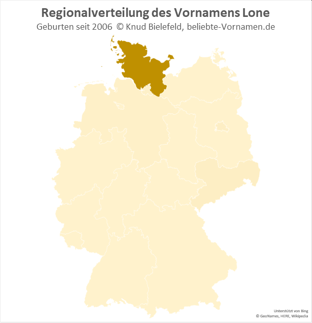 Außerhalb von Schleswig-Holstein kommt der Name Lone fast gar nicht vor.