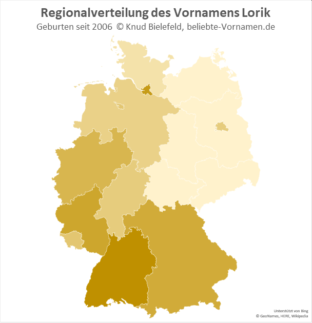 Am beliebtesten ist der Name Lorik in Baden-Württemberg.