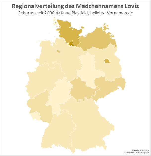 In Hamburg ist Lovis als Mädchenname am beliebtesten.