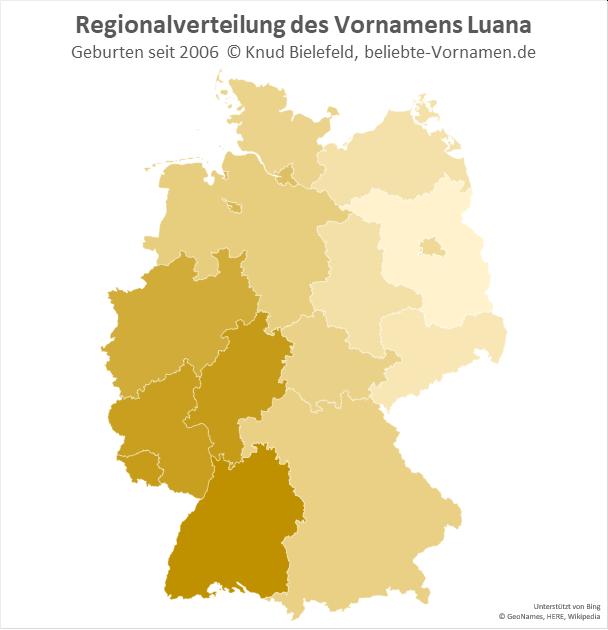 Im Südwesten Deutschlands ist der Name Luana besonders beliebt.