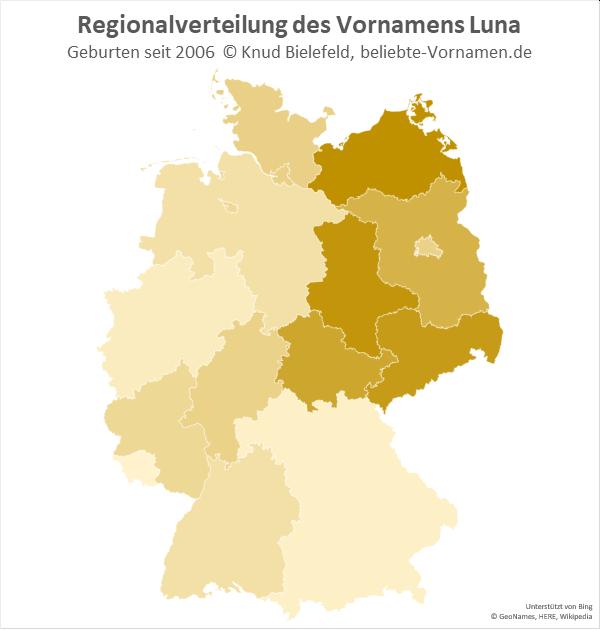Am beliebtesten ist der Name Luna in Mecklenburg-Vorpommern und Sachsen-Anhalt.
