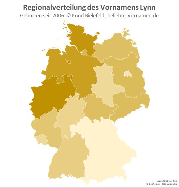 In Nordrhein-Westfalen ist der Name Lynn am beliebtsten.